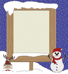 Large Christmas Empty Copyboard  - Cartoon Frame