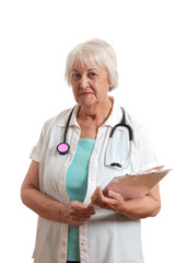 Senior woman doctor with stethoscope and clipboard