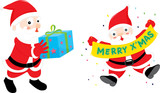 santa delivery presents illustration on a white background