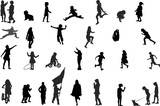 Fototapety children playing vector silhouettes collection