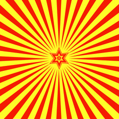 Background with red both yellow beams and a star