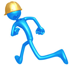 Construction Worker Running