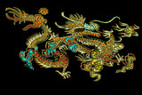 Chinese dragon. embroidery on  satin poster