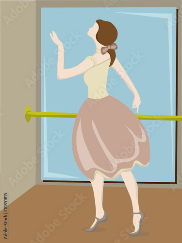 Ballerina posing next to pole and mirror