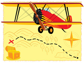 retro airplane over old treasure map