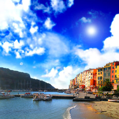 Mediterranean sea landscape with colored houses