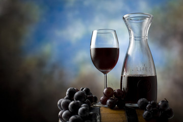 Grape,wineglass and red wine