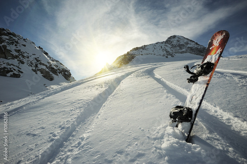 Snowboard in mountains