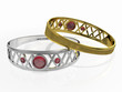 Two rings with red gem