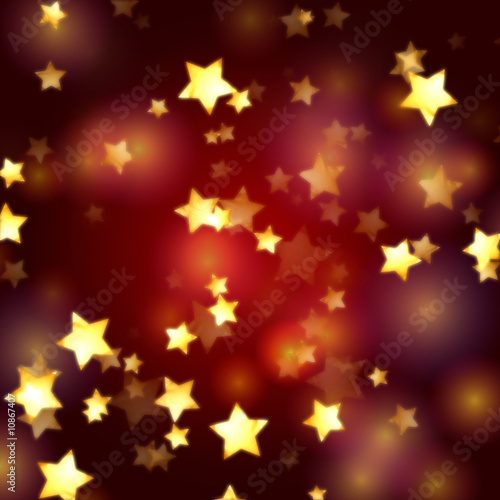 golden stars in red and violet lights