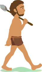 caveman with spear illustration on white