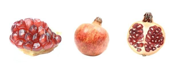 Three photos of fresh juicy pomegranate.