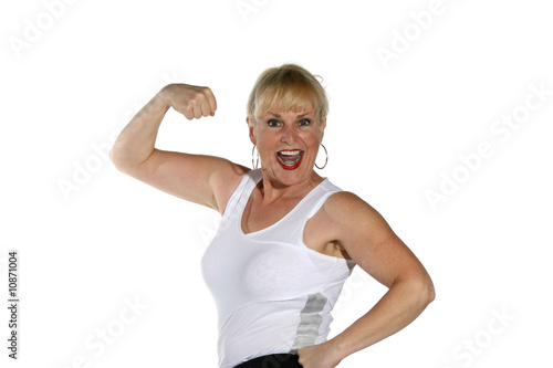 Attractive mature woman working out