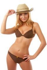 beach girl in bikini isolated on white