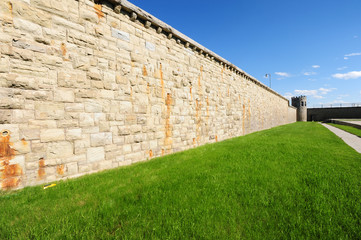 prison wall with tower in background