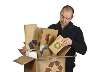 man recycling cardboard