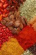 Various spices close up