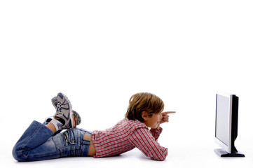 side pose of boy watching screen