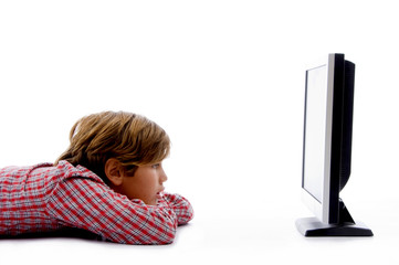 side pose of boy watching tv