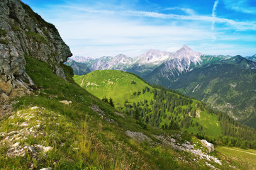 Panorama Blick über beim Tannheimer Tal