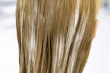 Young woman with hair mask, view from the back, close up (studio)