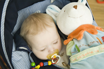 Baby sleeping, stuffed toy