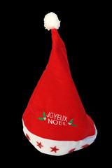 bonnet de Noël sur fond noir