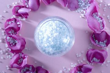 Bath salts and flower petals, close-up