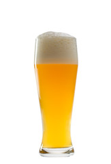 glass of bavarian wheat beer isolated on white