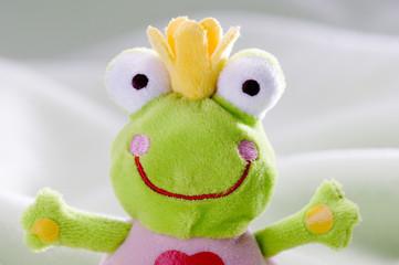 Stuffed frog, close-up