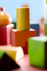 Wooden building blocks, close-up