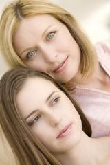 Portrait of two women, indoors