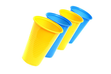 Plastic cups isolated on white.