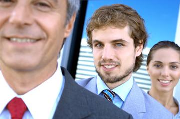 Business people smiling, portrait
