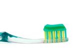 Isolated Toothbrush with toothpaste on a white background poster