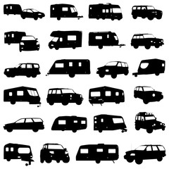 caravan and jeep vector