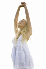 Young woman, stretching