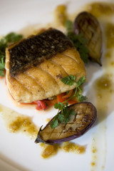 Pan-Seared Sea Bass with Grilled Baby Eggplant