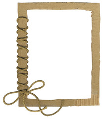 Cardboard frame for photo with a rope bow