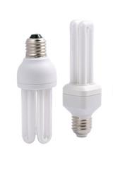 Two modern energy saving light bulbs