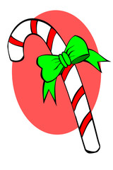 A striped candy cane with green bow
