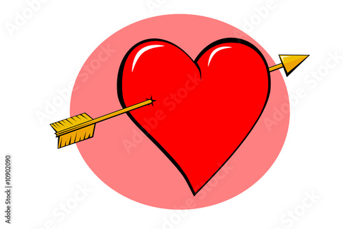 Red valentine with arrow through the heart