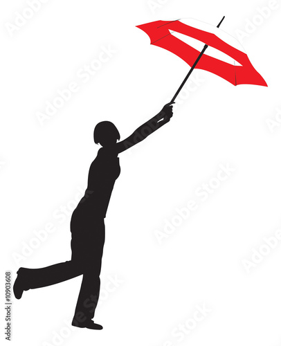 Silhouette of the girl with umbrella
