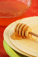 Waffle and honey dipper
