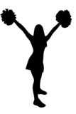 Isolated cheerleader silhouette