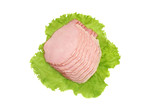 Cured meat with salad isolated on white. poster