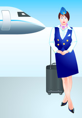 Beautiful stewardess waiting for the passengers