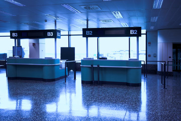 Desks in airport