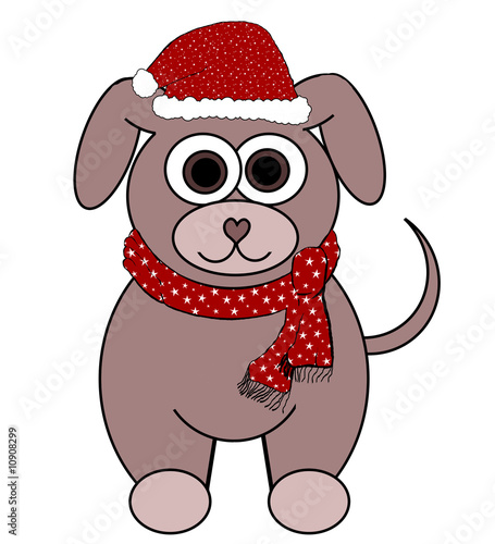 Puppy Dog In Santa Costume Cartoon - Isolated on white