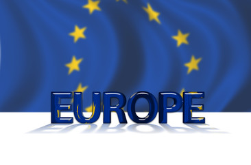 European Union Flag with Euro text